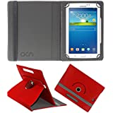 Acm Rotating Leather Flip Case For Samsung Galaxy Tab 3 Sm T211 Tablet Cover Stand Red