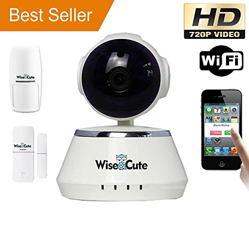 Wireless Security Camera IP Indoor HD 720P Baby Pet Elder Monitor PIR Detector and Door Sensor Included Video Monitoring Surveillance Cam Wise&Cute WSC001