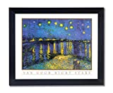 Vincent Van Gogh Night Stars Picture Black Framed Art Print