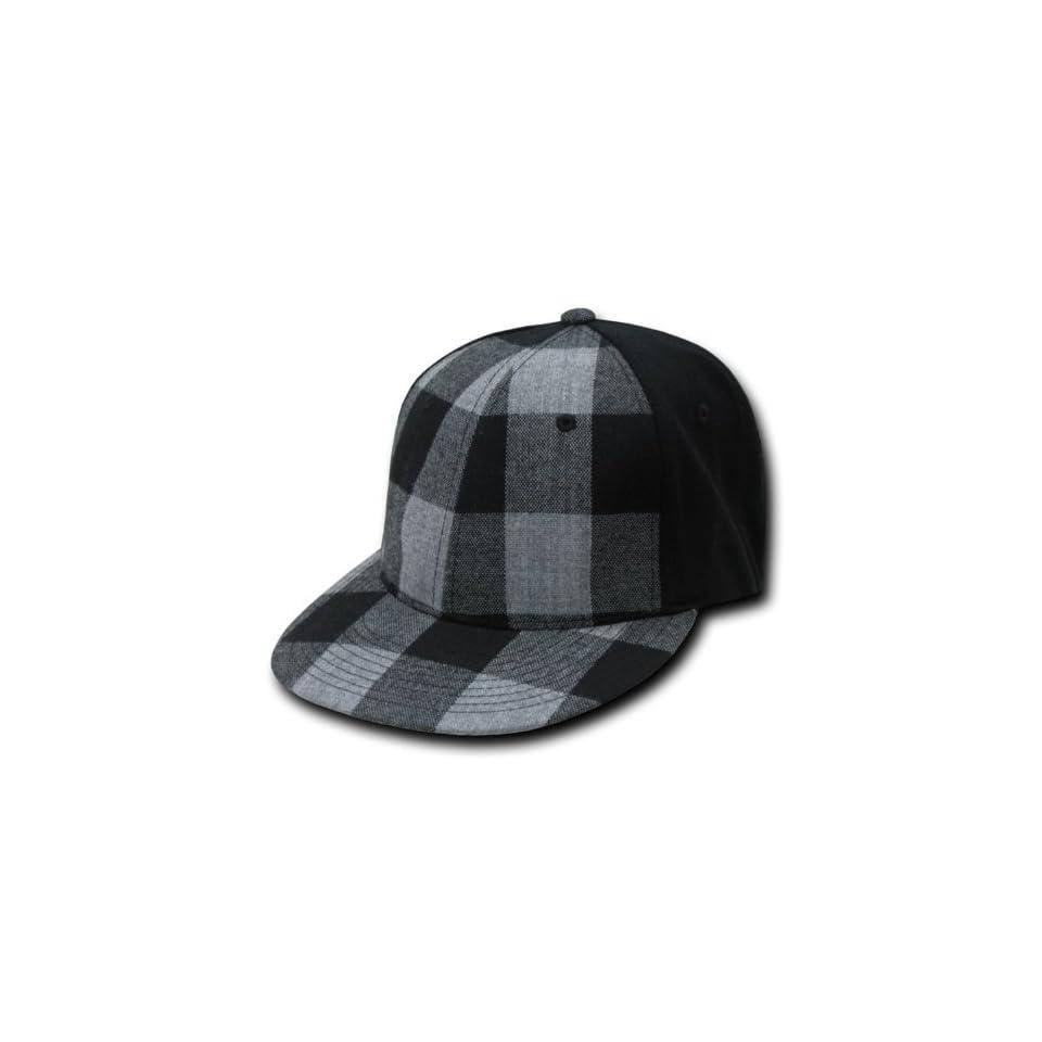 f7272018692 PLAID FLAT BILL FLEX FIT BLACK HAT CAP SKATE HATS on PopScreen