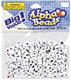 Darice Jewelry Designer Beads 7mm Alpha Round White/Black Letters 250pc (Pack of 1)