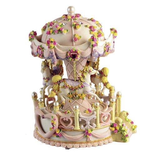 Music box carousel rotating 18 valve flower carving LED backlit bb407-yyh03