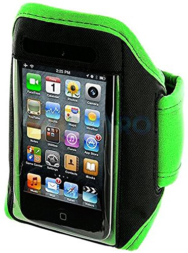 Mylife (Tm) Lime Green + Black Velcro Strap (Light Weight Neoprene + Secure Running Armband) For Apple Ipod 1St, 2Nd, 3Rd And Ipod 4/4S 4Th Generation Itouch (1G/2G/3G/4G) (Universal One Size Fits All + Velcro Secured + Adjustable Length + Sealed Inside M