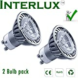 (2 bulb pack) 3W Interlux™ GU10 Brilliant White Downlights; High power USA chip LED