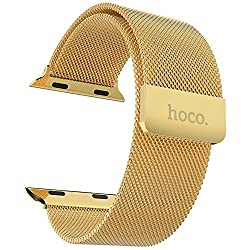 Hoco Watch Band with Magnet Lock Pinhen Milanese Loop Stainless Steel Bracelet Smart Watch Strap for Iwatch Apple Watch Band(milanese 42mm Gold)