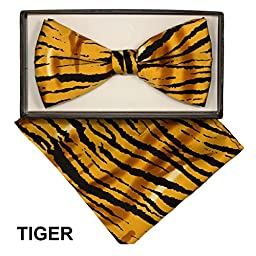 Men\'s Microfiber Tiger Animal Print Pretied Bow Tie & Pocket Square Hankie Gift Set