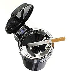 See AUDEW Office Car Smokeless Cigarette Ashtray Holder Interior Blue LED Light Details