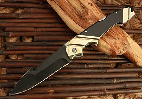 Assisted Survival Camping Swtooth Rescue Black Pocket Folding Knife- 10.03''