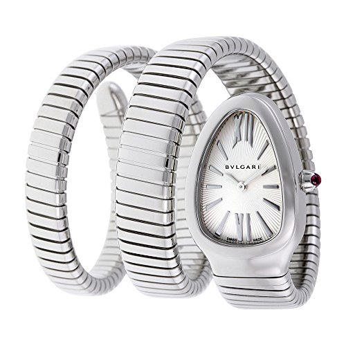 Bulgari Women's Serpenti Silver Textured Dial Flexible SS Double Wrap-Around
