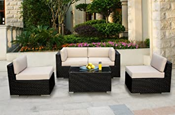 Ohana Collection Genuine Ohana Outdoor Patio Wicker Furniture 5pc All Weather Sectional Couch Set at Sears.com
