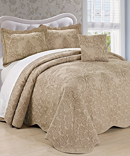 Serenta Damask 4 Piece Bedspread Set,