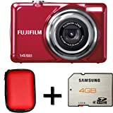 Fujifilm FinePix JV300 Red + Case and 4GB Memory Card (14MP, 3x Optical Zoom) 2.7 inch LCD Screen