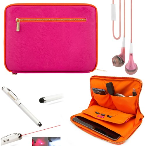 Faux Leather Carrying Bag Sleeve Case For Amazon Kindle Fire Hd Hdx 7-Inch Tablet + Hd Noise Filter Earphones Handsfree + Stylus