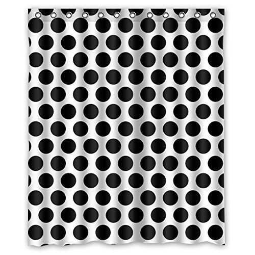 """Polka Dot Black And White Simple Fashion Waterproof Shower Curtain 60"""" X 72"""" front-950974"""