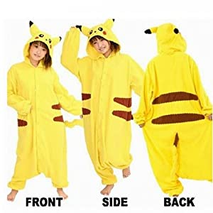 "Super9COS Pokemon Pikachu Kigurumi Pajamas Adult Anime Cosplay Halloween Costume ,size S (58""-64"") from super9COS"