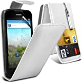 (White) Huawei Ascend G300 Custome Made Faux Leather Debit/Credit Card Slot Flip Case Cover Skin, Retractable Capacative Touch Screen Stylus Pen &Screen Protector Guard By *Aventus*