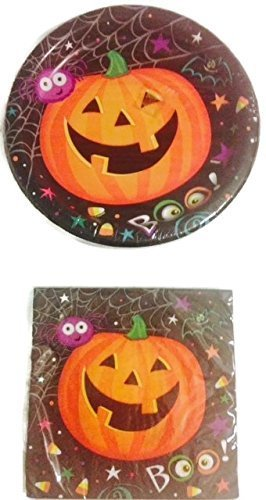 "Halloween ""Spooky Pumpkin"" Paper Plates & Napkins Set for 8 Guests - 1"