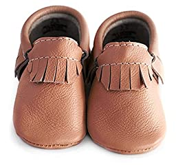 Baby Moccasins, The Coral Pear Classic Moccasin, Genuine Leather Shoes for Babies & Toddlers, Classic Brown, Size 5M (Babies & Toddlers)