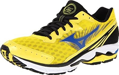Mizuno Men's Wave Rider 16 Running Shoe,Blazing Yellow/Blue/Black,7.5 D US