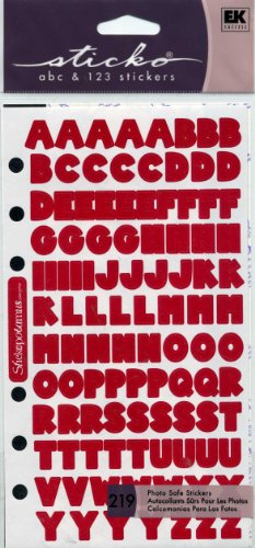 Stickopotomus Sticko Abc and 123 Stickers 219 Photo Safe Stickers Deep Red Block Collection