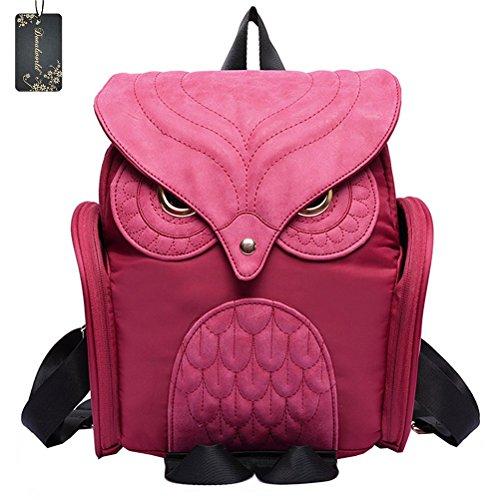 donalworld-women-backpack-pu-leather-cool-owl-school-bag-backpacks-rose