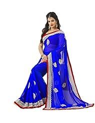 Sri Krishna Silks' Royal Blue Embroidered Saree - B00NUVIOS6