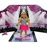 "18 "" Doll Play Scene Backdrop, a Doll House for American Doll Furniture. Perfect for 18 Inch American Girl Dolls, Barbie, Teddy Bears and More! Reversible Doll Fashion Runway & Doll Bed Room PlayScene & Floor Board!"