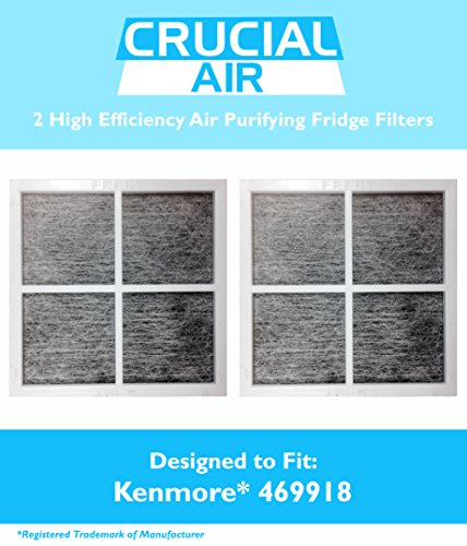 2 Kenmore Elite 9918 Air Purifying Fridge Filters, Part # 469918 & 04609918000, Designed & Engineered by Crucial Air