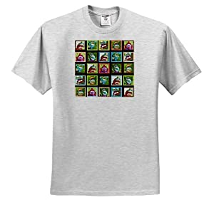 Lee Hiller Designs Colorful Sock Monkeys - Colorful Sock Monkeys Squares I - T-Shirts - Youth Birch-Gray-T-Shirt Med(10-12)