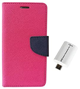 STAPNA Luxury Mercury Diary Wallet Style Flip Cover Case for Samsung Galaxy S7 Edge -Pink With otg Cable