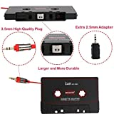 BESDATA Universal Car Cassette Player Adapter with 3.5mm Male Jack and 2.5mm Plug Adapter for iPod, iPad, iPhone, MP3, Mobil Device, Black