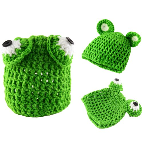 Locas Cute Baby Infant Frog Hat Costume Photo Photography Prop 0-6 Months Newborn