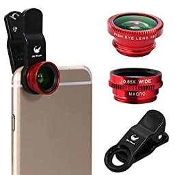 OldShark 3 in 1 Clip-On Fish Eye Lens+ 0.65X Wide Angle+ 10X Macro Lens For iPhone Samsung Blackberry Red