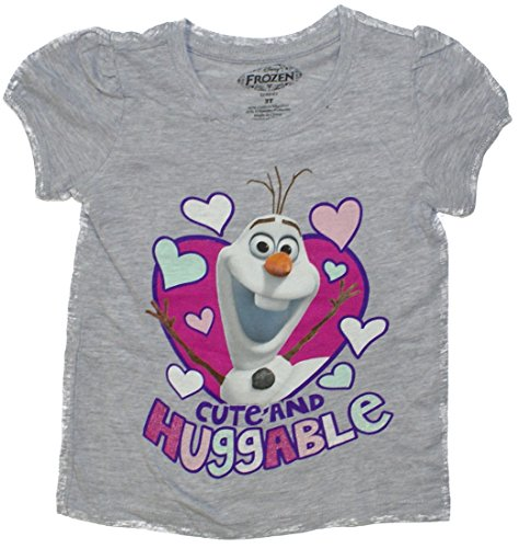 Disney Frozen Olaf Cute And Huggable Puff Sleeve Girls T-Shirt Grey 3T