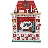 Kurt Adler Wooden Chimney Christmas Advent Calendar with Ornaments, 15-Inch