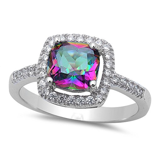 Sterling Silver Cushion Cut Rainbow Cz Ring With Cz - Size 6