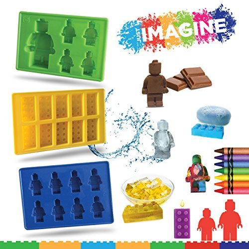 Just IMAGINE - Silicone Candy Molds & Ice Cube Trays - SET OF 3 - Lego Mold - Figures & Building Bricks Especially for Lego Lovers!