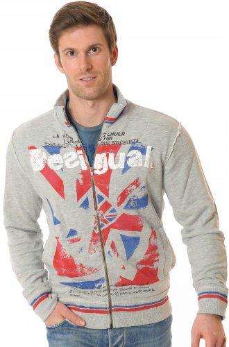 Desigual Herren Sweatshirt Flag Jacket 31S1007, grau, Größe:M