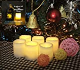 "Battery Operated Candles - 6 Unscented Small Flameless Candles, Dia. 1.5""x1.75"" Height, 70+ Hours of Lighting, 6 Extra Batteries Included, LED Candles, Flameless Candle Set, Votive Candles, Decorations, Wedding Favors,Halloween, Halloween Candles, Centerpieces, Wedding Decor"