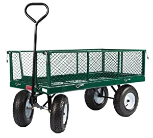 "Farm Tuff 24""X48"" Metal Deck Wagon with Metal Fold Down Sides Green"
