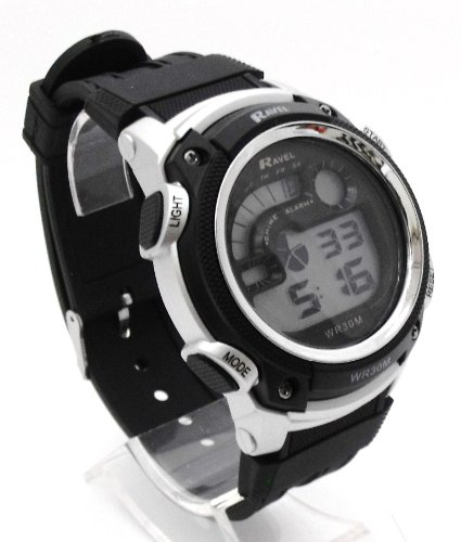 Mens Digital LCD Chronograph Sports Watch - Gift Boxed - Multi Functional- 15-22cm Strap - 3ATM - Black