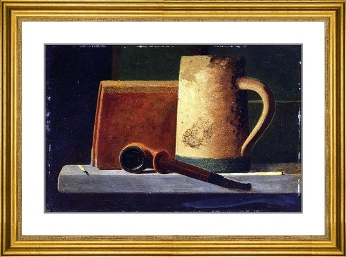 "John Frederick Peto Mug- Pipe And Book In Window Ledge - 21.5"" X 26.5"" Matted Framed Premium Archival Print"