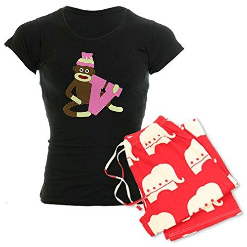 CafePress Sock Monkey Monogram Girl V Women's Dark Pajamas Women's Dark Pajamas