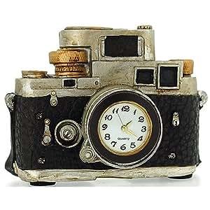 Nouveauté! Horloge de Collection Miniature de Bureau en Forme d'Ancien Appareil Photo SLR Argenté