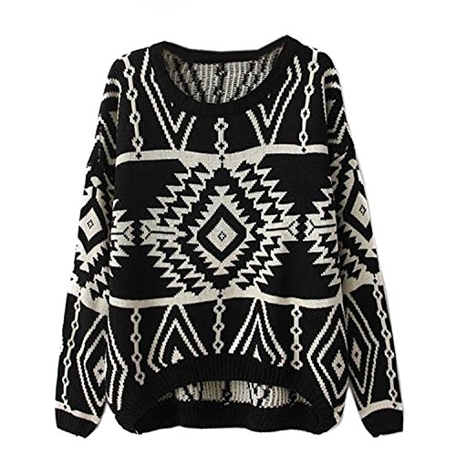 Ninimour- Women's Autumn Knitted Sweater Loose Pullover Outwear (Black)