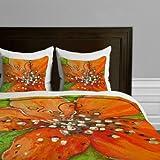 DENY Designs Gina Rivas Design Hibiscus Floral Duvet Cover, Queen