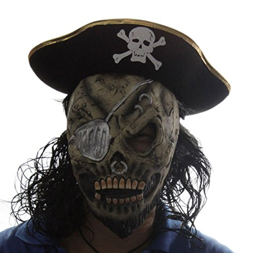 Pirate Hat Black Hair Skeleton Mask Set Halloween Masquerade by Preciastore