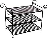 – Schuhregal Schuhablage, Metall / Eisen antik dunkelbraun, Landhaus, B 79 x H 55 x T 40 cm