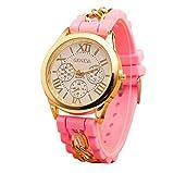 Mujer cuarzo reloj de la jalea dorado silicona reloj para Hombres Unisex negro Navidad feliz cumplea�os regalo - ofertas studyingstore Rosa A
