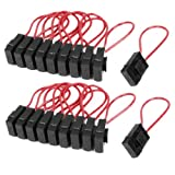 30A Wire In-line Fuse Holder Block Black Red for Car Boat Truck 20pcs